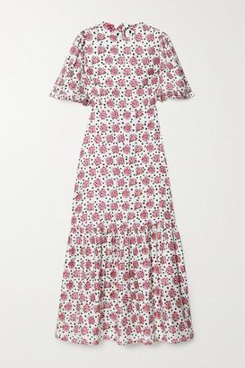 SEREN Cece Ruffled Floral-print Silk-twill Maxi Dress - Pink