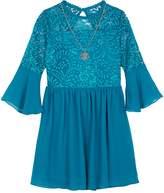 Iz Amy Byer Girls 7-16 IZ Amy Byer Lace Bodice Bell Sleeve Dress with Necklace