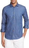 BOSS ORANGE Medallion Print Denim Slim Fit Button-Down Shirt