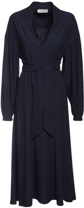 Sportmax Sable Flared Midi Dress W/ Belt