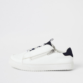 River Island Boys white lace-up zip side trainers