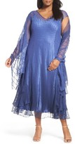 Komarov Plus Size Women's Charmeuse A-Line Dress & Chiffon Shawl