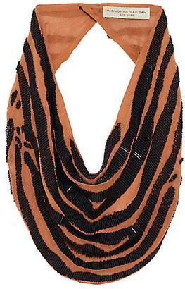 Mignonne Gavigan Zebra La Charlot Scarf Necklace - Orange