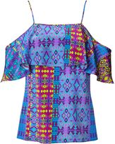 Matthew Williamson Blue Tribal Geo Off The Shoulder Top
