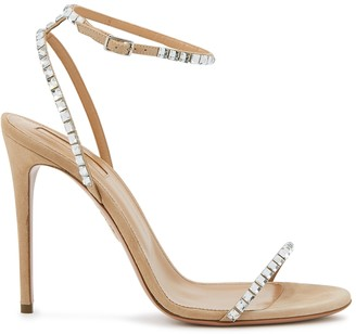 Aquazzura Very Vera 105 camel suede sandals