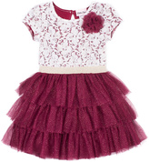 Little Lass Wine & White Floral Tiered A-Line Dress - Toddler & Girls
