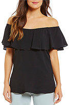 Spense Spence Ruffled Off-The-Shoulder Short Sleeve Solid Top