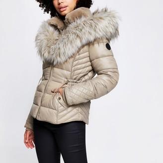 River Island Womens Beige faux fur padded coat