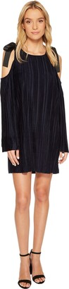 J.o.a. Women's Tie Cold Shoulder Pleated Dress