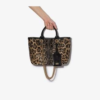Dolce & Gabbana black and gold animal print tote bag