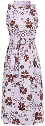 Kate Spade Flora Belted Floral-print Cotton-twill Midi Dress