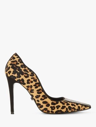 Dune Bengall High Heel Court Shoes, Brown Leather
