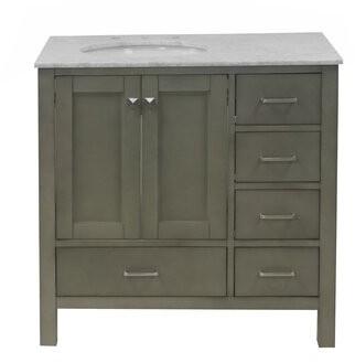 "Three Posts Aneira Full Cabinet 36"" Single Bathroom Vanity Set Base Finish: Weathered Gray, Top Finish: Carrara Marble"