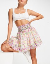 Thumbnail for your product : Lost Ink mini skirt with shirred waist in watercolor floral organza