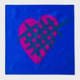 Paul Smith Men's Blue 'Crossed Heart' Print Silk Pocket Square