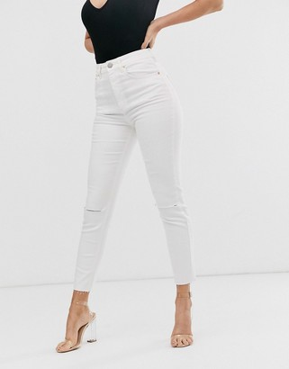 Asos Design DESIGN Farleigh high waisted slim mom jeans with rips and raw hem in off white