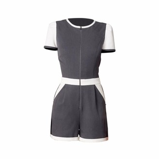 Philosofée By Glaucia Stanganelli Colorblock Romper Playsuit Grey