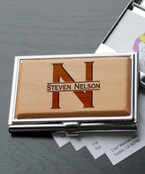 Etchey Card Holders Wood/Silver - Personalized Nelson Metal Business Card Holder