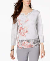 Alfred Dunner Lakeshore Drive Embellished Metallic Split-Neck Sweater