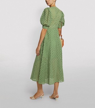 Sandro Paris Embroidered Puff-Sleeved Dress