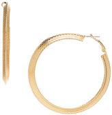 Carole Goldtone Textured Hoop Earrings