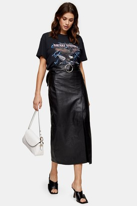 Topshop Womens Black Leather Wrap Pencil Skirt - Black