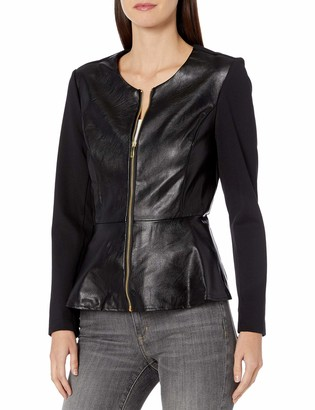 Nanette Lepore Women's Faux Leather Jacket with Combo Fabric and Gold Exposed Zipper