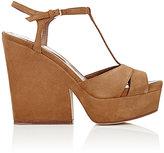 Sergio Rossi Women's T-Strap Platform Sandals-Brown, Light green