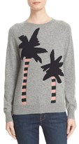 Chinti and Parker Women's Reverse Intarsia Palm Tree Cashmere Sweater