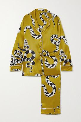 Olivia von Halle Lila Printed Silk-satin Pajama Set - Gold