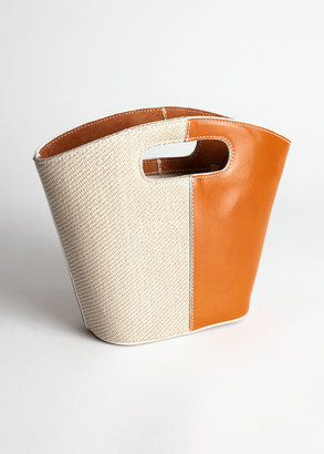 And other stories Leather Canvas Mini Clutch Bag