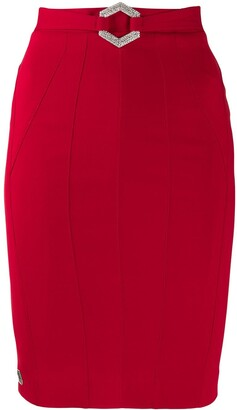 Philipp Plein Stretch-Cady Fitted Skirt