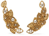 Oscar de la Renta Millegrain Petal Gold-plated Crystal Clip Earrings