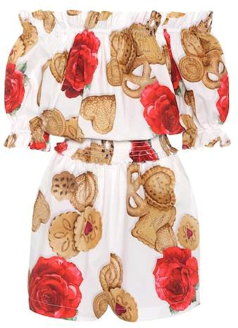 Dolce & Gabbana Printed cotton poplin playsuit