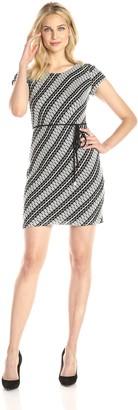 Sandra Darren Women's Cap Sleeve Printed Dress with Self Tie