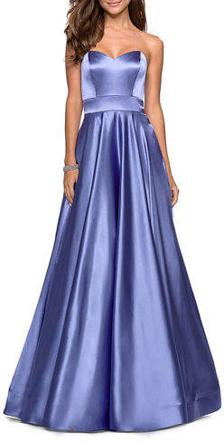 La Femme Strapless Sweetheart Satin Ball Gown with Banded Waist