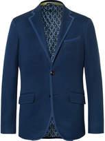 Etro Blue Slim-Fit Textured-Cotton Blazer