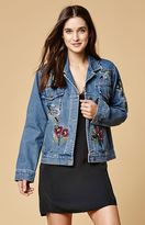 Honey Punch Floral Embroiderd Denim Trucker Jacket