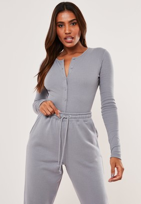 Missguided Petite Lilac Rib Button Front Bodysuit