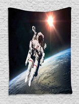 Galaxy Tapestry Wall Hanging by Ambesonne, Astronaut Man Floating over Earth with Powerful Sun Beams in Background Image Print, Bedroom Living Room Dorm Decor, 60WX80L Inches, Orange Grey