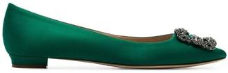 Manolo Blahnik jade green Hangisi brooch embellished pumps