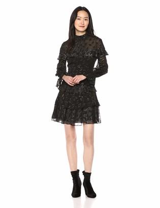BCBGMAXAZRIA Azria Women's Metallic Clip Dot Ruffle Dress