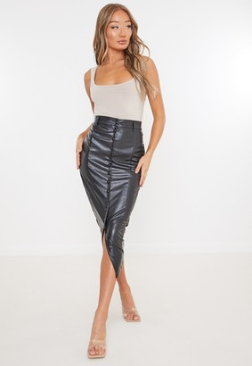Missguided Black Faux Leather Button Down Midi Skirt