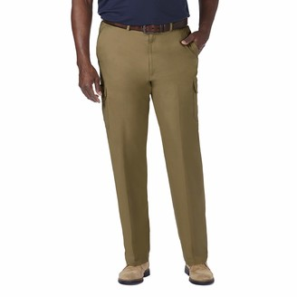 Haggar Men's Big-Tall Stretch Comfort Cargo Expandable Waist Classic Fit Plain Front Pant