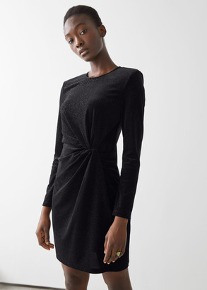 And other stories Glitter Velour Padded Shoulder Mini Dress