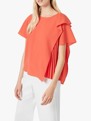 French Connection Aphra Pleat Layer Top, Poppy Red