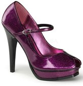 Pin Up Couture Pearlized Glitter Mary Jane Peep Toe - 8
