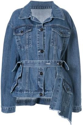 Ruban tie-waist denim jacket