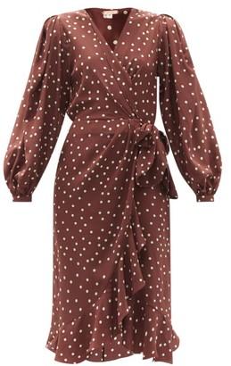 Johanna Ortiz Geography Of Life Polka-dot Silk Wrap Dress - Brown