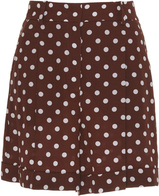 Michael Kors Printed Crepe De Chine Shorts